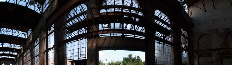 Photo of interior of unrestored Assembly Building