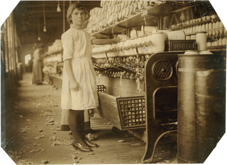 Photo of Cotton spinner, c. 1910, photo by Lewis Wickes Hine